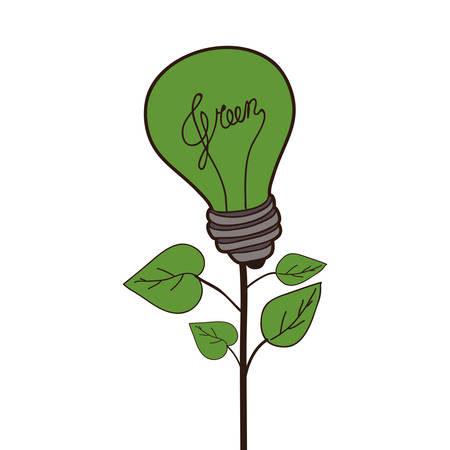 green bulb: plant with green bulb light icon over white background. vector illustration