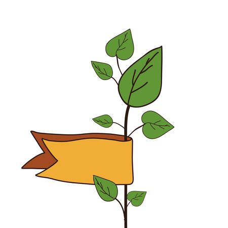 illustraion: green plant with leaves and yellow ribbon over white background. vector illustraion