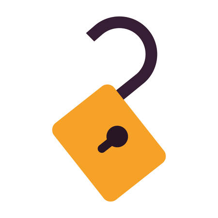 yellow padlock icon with keyhole over white background. vector illustration Illustration
