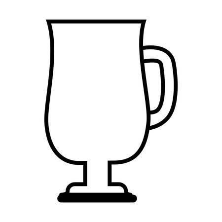 caffeine: silhoutte of coffee mug icon over white background. caffeine drink. vector illustration