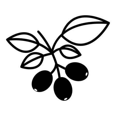 planta de cafe: silueta de la planta de café con hojas verdes sobre fondo blanco. ilustración vectorial