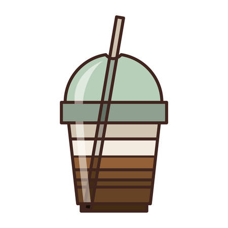 caffeine: coffee cup with straw icon over white background. caffeine takeway drink. vector illustration Illustration
