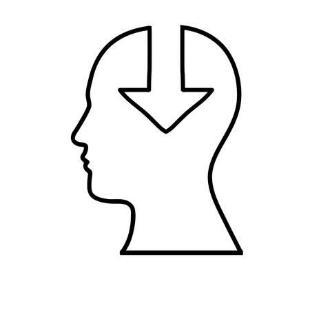 orientation marker: human head with arrow icon image vector illustration design