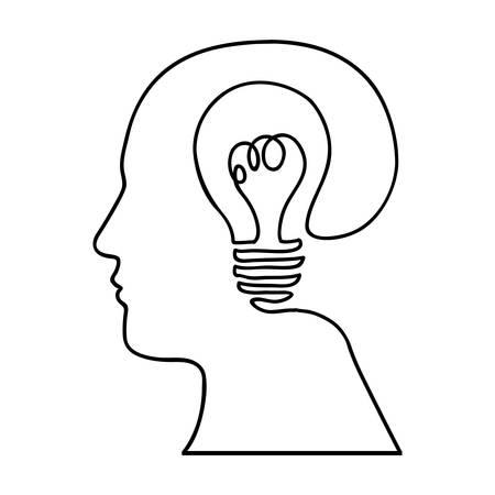 head and lightbulb abstract wisdom icon image vector illustration design