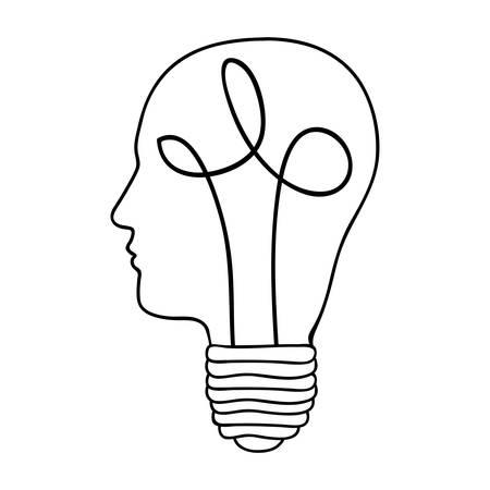 tête et lightbulb abstrait icône de la sagesse l'image illustration vectorielle conception
