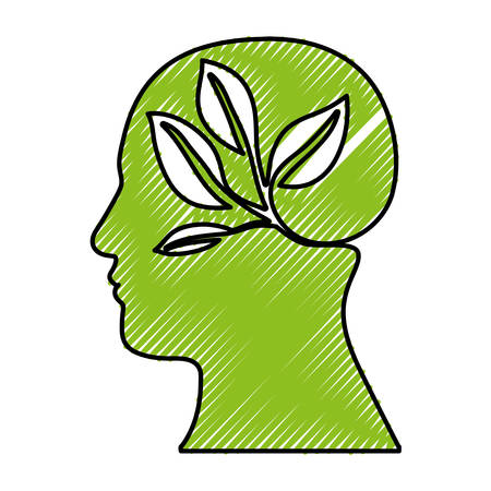 vegetate: head silhouette leaves or sprout icon image vector illustration design