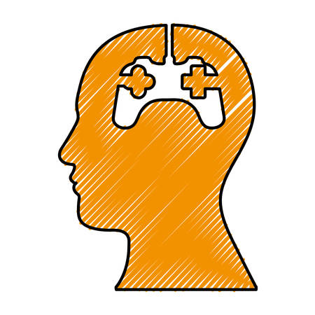 obsession: head and game controller icon image vector illustration design Illustration