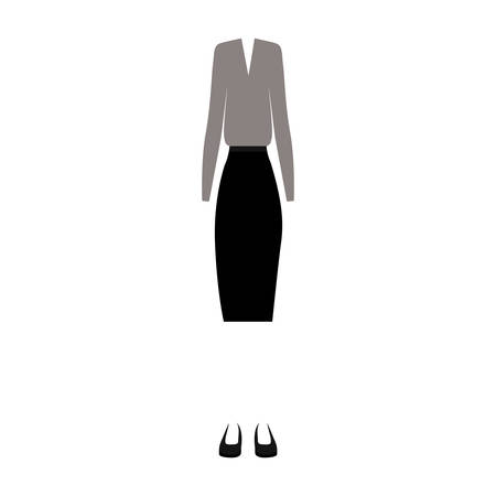 white blouse: executive women clothes gray blouse and black skirt over white background. vector illustration