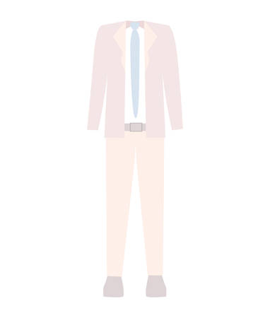 illustraiton: executive men clothes pink suit and blue tie over white background. vector illustraiton Illustration