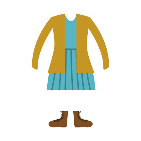 yellow jacket: blue drees with yellow jacket and brown boots. casual girl kid clothes over white background. vector illustration