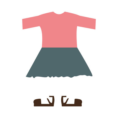 white blouse: pink blouse and blue skirt. casual girl kid clothes over white background. vector illustration