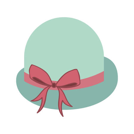 pink bow: elegant women hat with decorative pink bow ribbon icon over white background. vector illustration