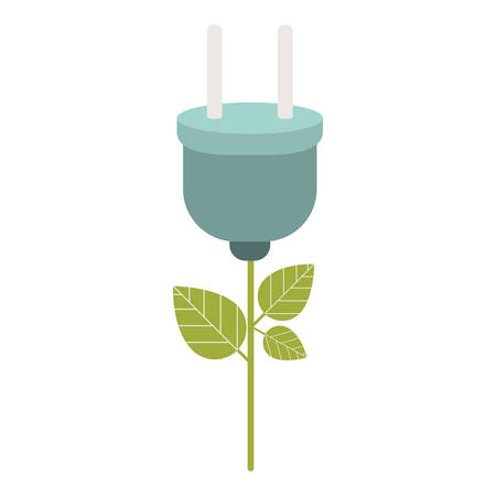 green plant with electric plug icon over white background. energy saving design. vector illustration