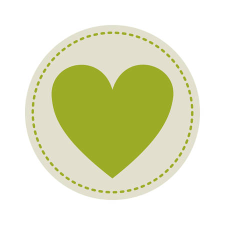 green heart: circle with green heart shape icon inside over white background. vector illustration Illustration
