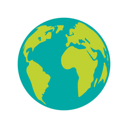 earth planet icon over white background. world globe. vector illustration