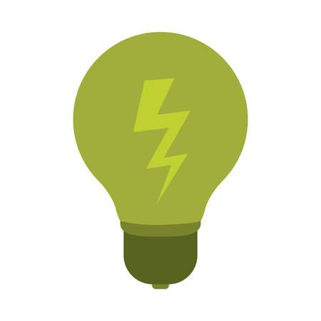 green bulb: green bulb light icon over white background. energy saving design. vector illustration
