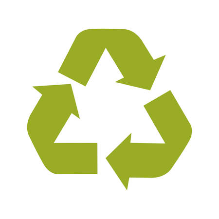 green arrows: green arrows in recycle sign over white background. vector illustration