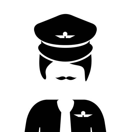 silhouette of  airplane pilot man over white background. vector illustration Illustration