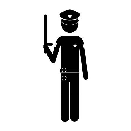 laborer: silhouette of police man icon over white background. vector illustration Illustration