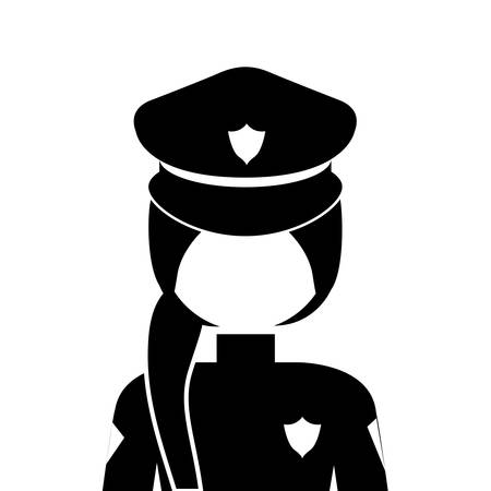 labourers: silhouette of police woman icon over white background. vector illustration