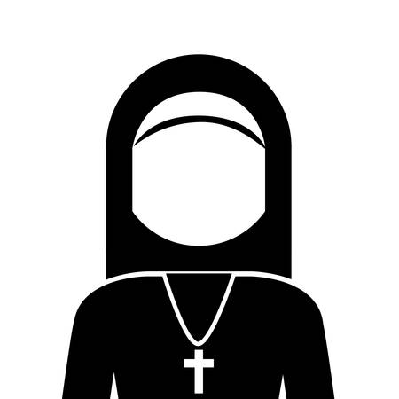 doddle: silhouette of woman nun with religious cross icon over white background. vector illustration