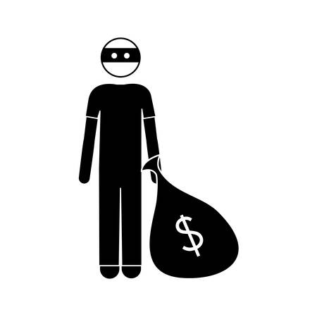 dangerous work: silhouette of thief man with eye mask and holding a sack with money over white background. vector illustration Illustration