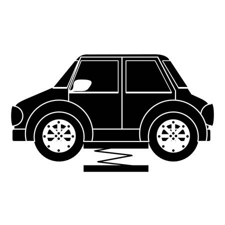 car lift: car automobile on hydraulic car lift over white background. mechanic profession. vector illustration