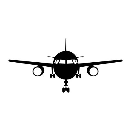 silhouette of airplane vehicle over white background. front view. vector illustration