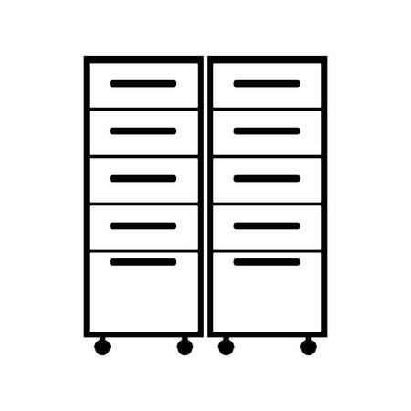 cabinets: silhouette of file cabinets drawers over white background. vector illustration Illustration