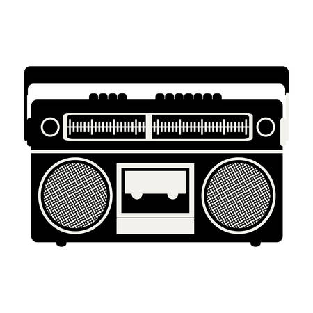 ghetto blaster: silhouete of classic music tape player device icon over white background. vector illustration Illustration