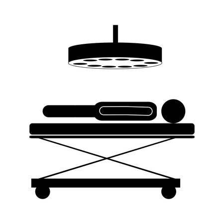 surgery stretcher: silhouette of man lying on a stretcher in surgery room icon over white background. vector illustration