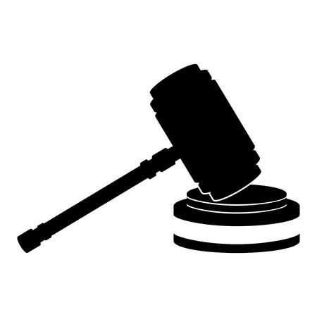 civil rights: silhouette of hammer of justice law icon over white background. vector illustration