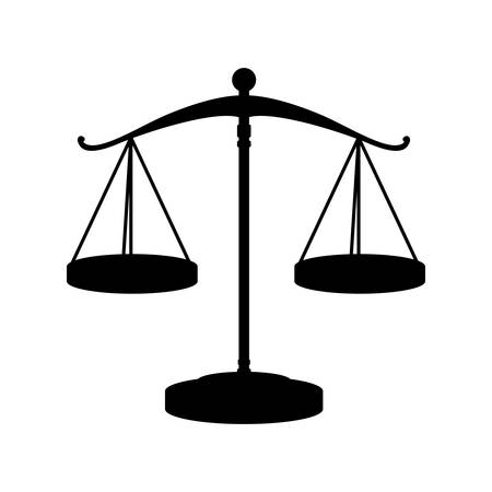 civil rights: silhouette of scale of justice law icon over white background. vector illustration