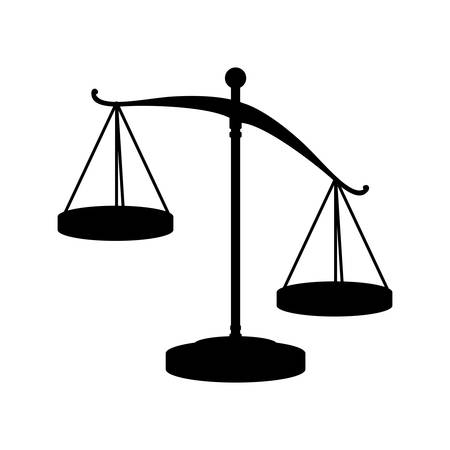 judicial: silhouette of scale of justice law icon over white background. vector illustration