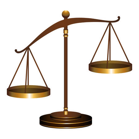 verdicts: scale of justice law icon over white background. vector illustration