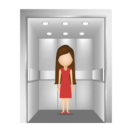 lift gate: woman with red dress inside elevator icon over white background. vector illustration