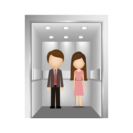 lift gate: executives man and woman inside elevator icon over white background. vector illustration