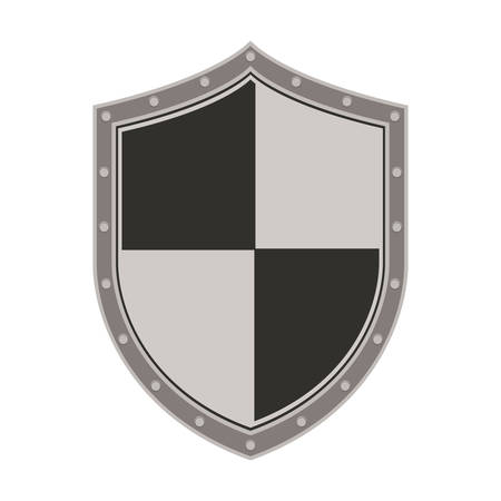 illustraiton: gray and black security shield icon over white background. vector illustraiton Illustration