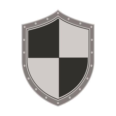 illustraiton: gray and black security shield icon over white background. vector illustraiton Illustration