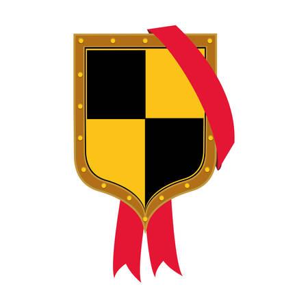 illustraiton: yellow and black security shield icon over white background. vector illustraiton
