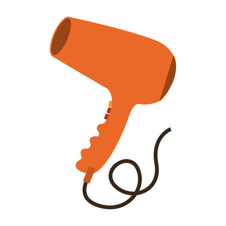 hair saloon: orange hairdryer device icon over white background .hair saloon design. vector illustration