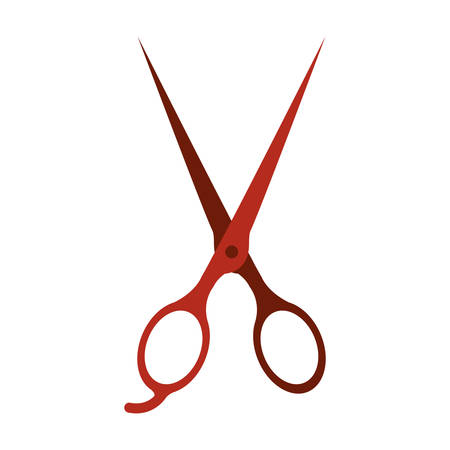 red scissors instrument icon over white background. hair saloon design. vector illustration