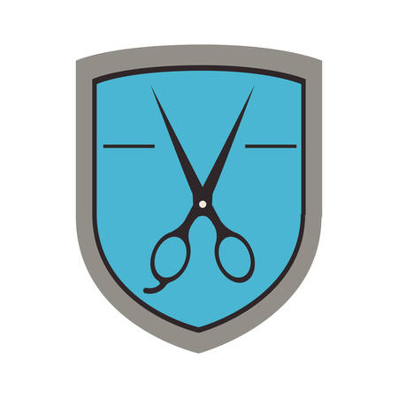 hair saloon: badge with scissors instrument icon inside over white background. hair saloon design. vector illustration Illustration