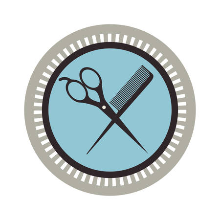 hair saloon: seal stamp with scissors instrument icon inside over white background. hair saloon design. vector illustration