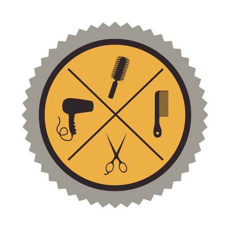 hair saloon: hair saloon icons inside seal stamp over white background. vector illustration