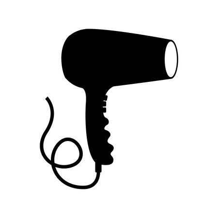 hair saloon: silhouette of hairdryer device icon over white background .hair saloon design. vector illustration