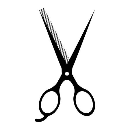 hair saloon: silhouette of scissors instrument icon over white background. hair saloon design. vector illustration