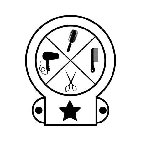 haircare: silhouette of hair saloon icons inside seal stamp over white background. vector illustration