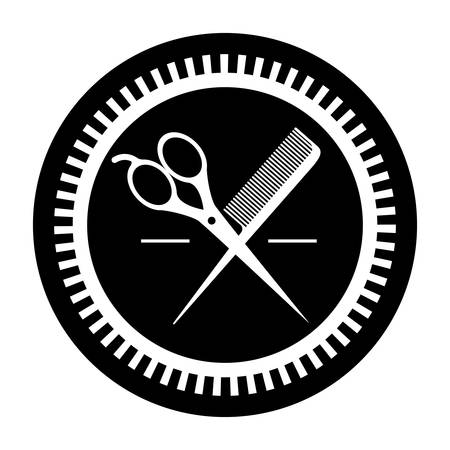 hair saloon: silhouette of hair saloon icons inside seal stamp over white background. vector illustration