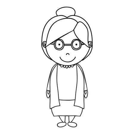 Silhouette der alten Frau Karikatur auf weißen Hintergrund lächelnd. Vektor-Illustration Standard-Bild - 65118909